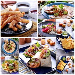 A portrait of various mexican food buffet, close up