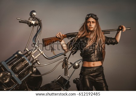 A post apocalyptic girl and a motorcycle. Memoirs of Mad Max