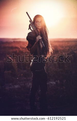 A post apocalyptic girl at sunset. Memoirs of Mad Max