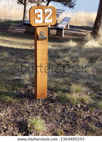 A post for campsite number thirty-two at the campground at Ochoco Reservoir in Central Oregon. #1364480243