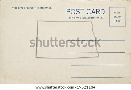 A postcard with a North Dakota map outline. Dirt and scratches at 100%.