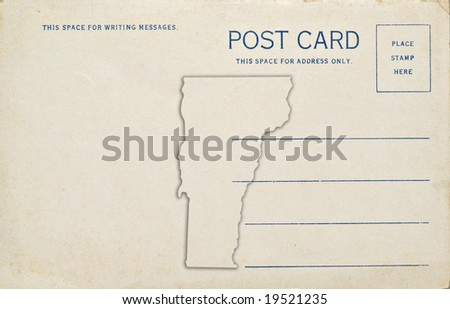 A postcard with a Vermont map outline. Dirt and scratches at 100%.