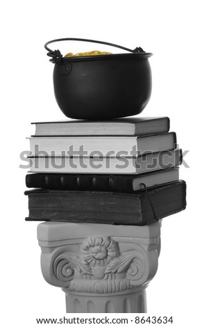 A pot of gold atop a stack of books on a pedestal