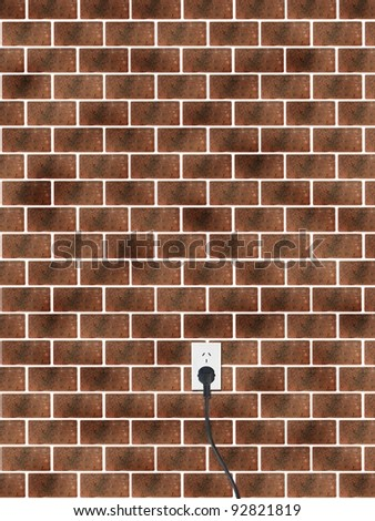 A power cord and outlet on a brick wall