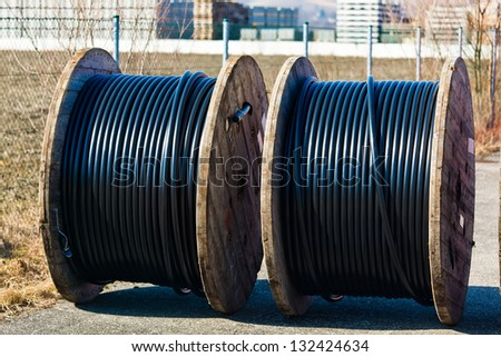 a power line cable rolled up after production.