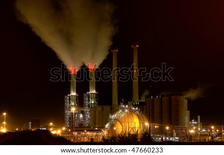 A power-plant at night