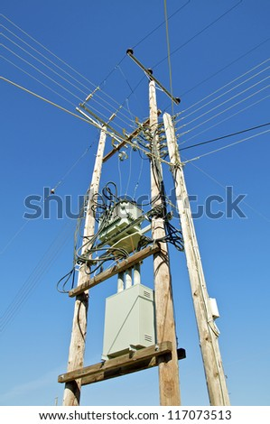 A power pole in the countryside on crete, Greece