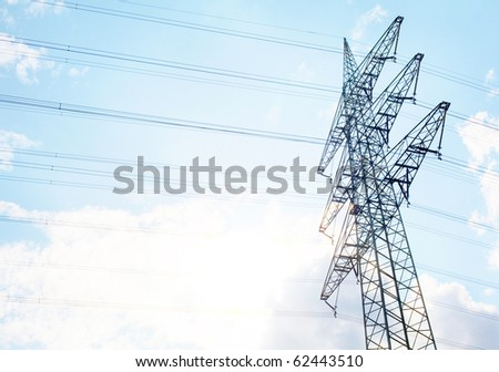 A Power Tower in front of a nice blue summers ky
