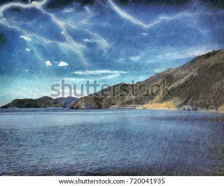 A powerful thunderstorm in the mountains near the sea. Watercolor painted on canvas artwork. Oil painting style. Digital art.