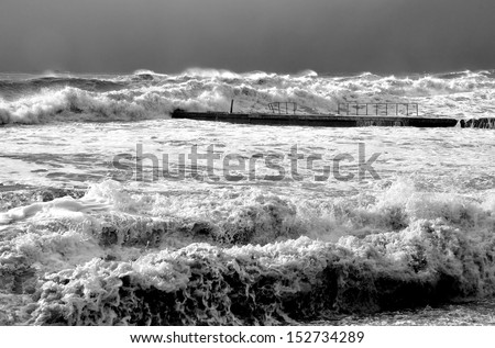 A powerful winter storm in the Black Sea near Sochi black and white