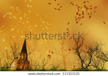 A pre-made background for autumn and halloween.