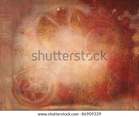 A pre-made background with gears and steam-punk style and coloring. - stock photo