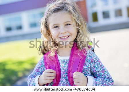 A pre-school student going to school with smile Stock photo ©