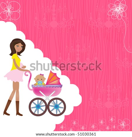 a pregnant mother and a baby with pram on a beautiful invitation digital photo card invitation