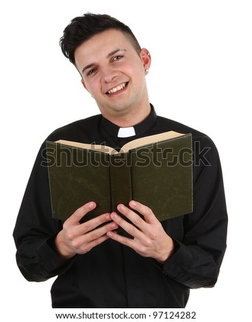 A preist with a book