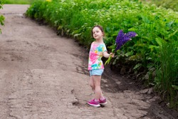 a preschool girl in shorts and a T-shirt walks along the road alone and carries a bouquet of lupine flowers for her mom.
