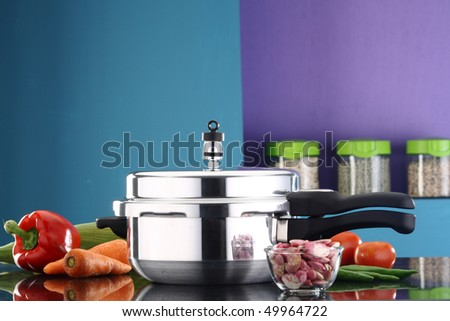 A pressure cooker in a kitchen ambiance