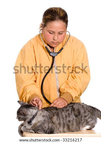 stock photo : A preteen girl is checking the heart rate of her pet cat, nude ...