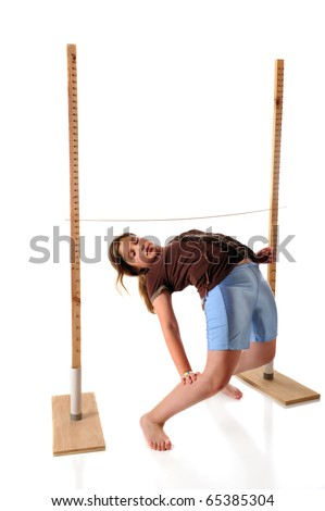 A preteen girl playing limbo.  She's bending backwards under the limbo stick.  Isolated on white.
