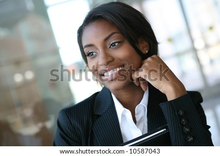 A pretty african american business woman at her company