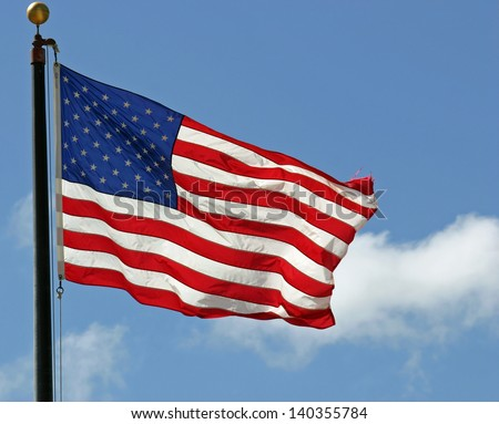 A pretty American flag waving in the wind