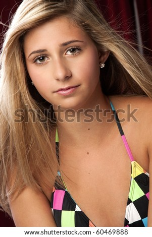 stock photo a pretty blond teen girl wearing a colorful bikini swimsuit 60469888 teen sex couple handjob. This is a amazing set of tits and they are all ...