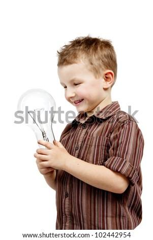 A pretty boy is holding in the hands of the bulb. He is satisfied, smiling and happy.