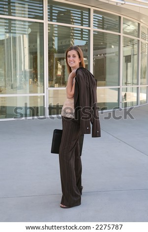 A pretty business woman on her way to the office
