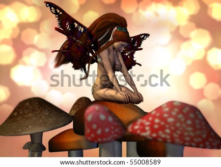 A pretty female fairy sitting on a mushroom. Peach and pinks and browns and yellow light surround her.