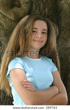pretty girls with pretty hair. stock photo : A pretty girl