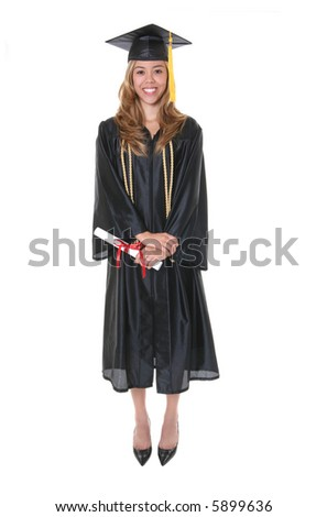 A pretty woman holding her diploma at graduation