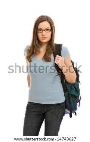 A pretty young woman, isolated against a white background, carries her books in a backpack