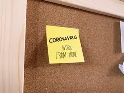 A prevention memo, reminds to employees not to come to office and work from home, due to coronavirus outbreak.