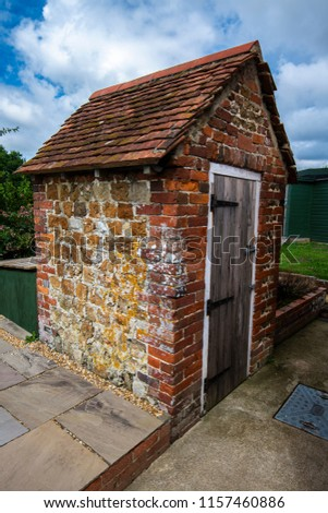 A 'primitive' brick privy or toilet nearly 200 years old near Sidlesham, Chichester, West Sussex, England