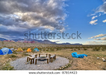 A Primitive Campsite in Red Rocks, Nevada, USA