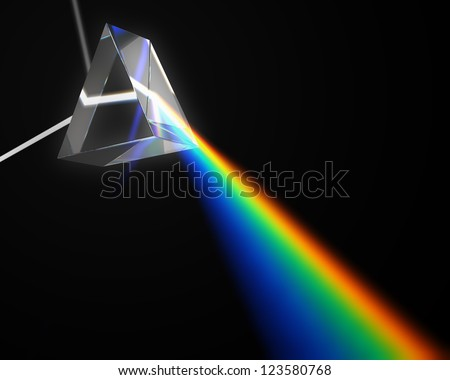 A prism dispersing white light
