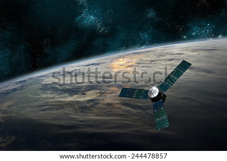 A probe investigates a beautiful cloud covered planet in deep space. Clouds swirl over the planet\'s surface and through its atmosphere. Elements of this image furnished by NASA.