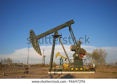 A producing oil well in a oilfield
