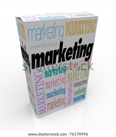 A product box with with the word Marketing calling attention to it, symbolizing the power of advertising to draw buyers when unique advantages and benefits of the merchandise is promoted