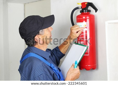 a professional checking afire...