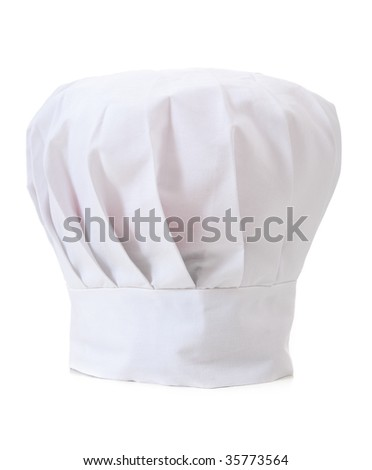 A professional chefs hat or toque on a white background