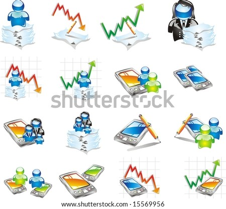 a professional Icon set for business, stock market, finance and technology. perfect shapes easy to cut and paste.