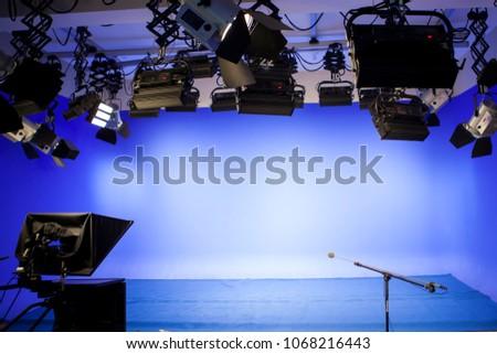A professional light spotlight in a TV studio