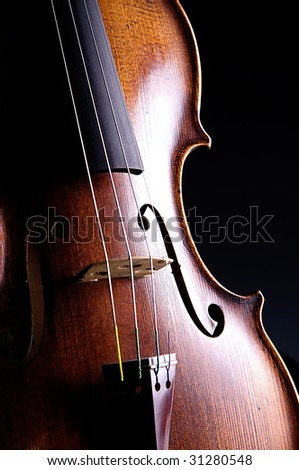 A professional violin viola isolated close-up against a black background in the vertical format with copy space.
