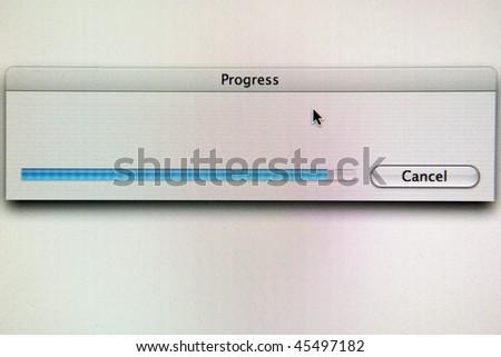 a progress bar on a computer screen