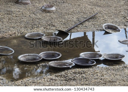 A prospector's pan left by the river. This is the pans that is used to search for alluvial gold in the stones of the river. Museum Sovereign Hill - Ballarat, Victoria, Australia