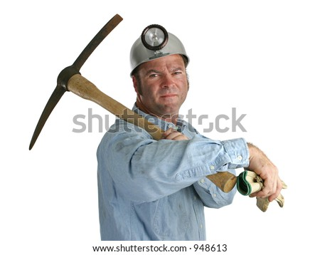 A proud coal miner with this gloves and pick-ax.