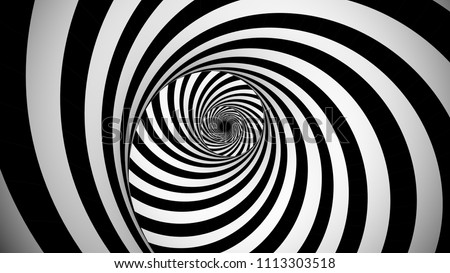 A psychedelic 3d illustration of an optical illusion created by black and white stripes rotating in a tunnel with spiraling effect. They create the mood of enigma and magic.