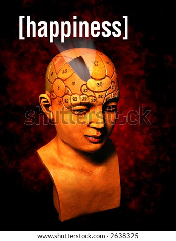 A psychology model highlighting the happiness section of the brain - stock photo