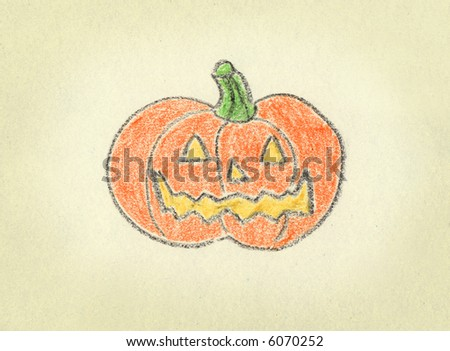 a pumpkin drawn with crayon over textured paper